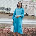 Dress happymaman Lake blue Average size Korean version Long sleeves Medium length autumn Crew neck Solid color Cotton and hemp