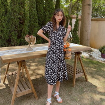 Dress happymaman Black, pink S,M,L,XL Europe and America Short sleeve Medium length summer V-neck Decor
