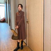 Dress happymaman Brown dress, black dress, white coat Average size Korean version Long sleeves Medium length winter