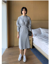 Dress Spring 2021 Black, light grey, new model will be delivered after the year S,M,L Mid length dress singleton  Long sleeves commute Hood middle-waisted Solid color Socket One pace skirt Type H Inkstone forest Korean version 81% (inclusive) - 90% (inclusive) knitting cotton