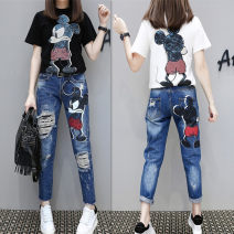Jeans Summer 2020 Milky white T-shirt, black T-shirt, blue jeans, suit [white T-shirt + jeans + belt], suit [black T-shirt + jeans + belt] S,M,L,XL,2XL Ninth pants Natural waist loose  routine Old, painted, worn, washed, white, zipper, pattern, scratch Cotton denim Dark color Jeans suit Other / other