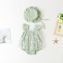 Jumpsuit / climbing suit / Khaki Other / other Class B female Green hat one piece One hundred days, one year old cotton Mesh Daisy dress al-001 Three months, six months, 12 months