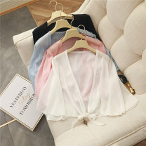Lace / Chiffon Summer 2020 Pink, white, black, blue Average size three quarter sleeve Versatile Cardigan singleton  easy Regular