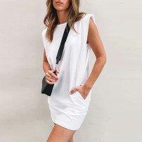 Dress Spring 2021 White, black S, M Short skirt singleton  Sleeveless commute Crew neck middle-waisted Solid color Socket Pencil skirt 25-29 years old Type H Simplicity AI cotton