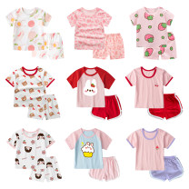 suit 73cm,80cm,90cm,100cm,110cm,120cm female summer leisure time Short sleeve + pants 2 pieces routine No model Socket nothing Cartoon animation cotton children Expression of love Class A 12 months, 9 months, 18 months, 2 years, 3 years, 4 years