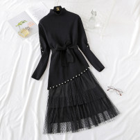 Dress Winter of 2018 Black, blue purple, beibai, pink S,M,L,XL longuette Two piece set Long sleeves commute Half high collar Elastic waist Solid color Socket Cake skirt routine Type A Korean version Lace