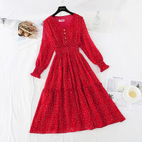 Dress Spring 2021 Red, black S,M,L,XL longuette singleton  Long sleeves commute V-neck High waist Dot Socket Ruffle Skirt pagoda sleeve 25-29 years old Type A Retro Ruffles, Auricularia auricula, stitching, buttons More than 95% Chiffon polyester fiber