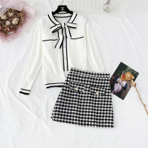 Dress Spring 2021 Blue, white, black, thousand bird skirt S,M,L,XL Short skirt Two piece set Long sleeves commute Crew neck High waist houndstooth  Socket A-line skirt routine Type A Korean version Bows, folds, pockets, lace UPS, stitches, straps, beads, buttons More than 95% knitting