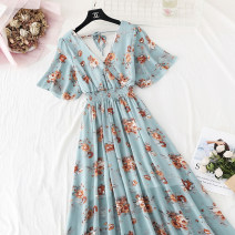 Dress Spring 2021 S,M,L,XL,2XL longuette singleton  Short sleeve commute V-neck High waist Broken flowers Socket Big swing Lotus leaf sleeve Type A Korean version Bowknot, ruffle, pleat, lace, bandage, printing More than 95% Chiffon