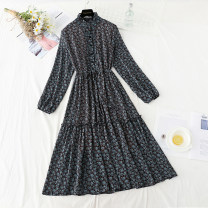 Dress Spring 2021 Black, red, coffee S,M,L,XL longuette singleton  Long sleeves commute stand collar Loose waist Broken flowers Single breasted Ruffle Skirt routine Type A Retro Bowknot, ruffle, Auricularia auricula, lace, stitching, bandage, button, printing Chiffon