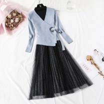 Dress Spring 2021 Blue, apricot, black, pink, khaki S,M,L,XL longuette Two piece set Long sleeves commute Crew neck High waist Solid color Socket Big swing routine Type A lady Bowknot, hollow out, bright silk, gauze net, lace More than 95% knitting