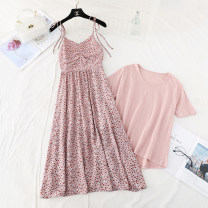 Dress Spring 2021 Purple, blue, pink S,M,L,XL longuette Two piece set Short sleeve commute Crew neck High waist Broken flowers Socket A-line skirt routine camisole Type A Korean version Bow, fold, lace, bandage, print More than 95% Chiffon