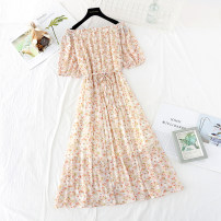 Dress Spring 2021 Broken flowers are yellow and green S,M,L,XL,2XL longuette singleton  Short sleeve commute One word collar Loose waist Broken flowers Socket Pleated skirt puff sleeve Type H Korean version Bowknot, tuck, fold, lace, bandage, printing More than 95% Chiffon