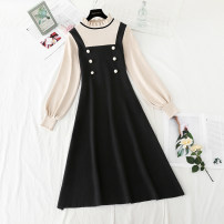 Dress Spring 2021 Black, red, khaki, navy S,M,L,XL longuette Fake two pieces Long sleeves commute Crew neck High waist Solid color Socket Big swing routine Type A Korean version Button 31% (inclusive) - 50% (inclusive) knitting