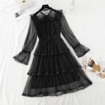 Dress Spring 2021 Apricot, black, pink S,M,L,XL longuette singleton  Long sleeves commute Crew neck High waist Dot zipper Cake skirt pagoda sleeve Type A Retro bow , Ruffles , Hollow out , fungus , Gouhua hollow out , Frenulum , Splicing , Bandage , Gauze , Lace Lace