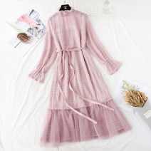 Dress Spring 2020 Apricot, black, pink S,M,L,XL longuette Two piece set Long sleeves commute Lotus leaf collar High waist Solid color Socket Ruffle Skirt pagoda sleeve Type H Korean version Bowknot, flounce, fold, lace, stitching, bandage, Sequin, mesh, lace 51% (inclusive) - 70% (inclusive) Chiffon