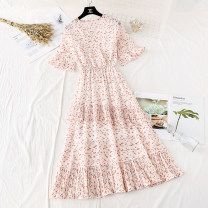 Dress Spring 2021 S,M,L,XL longuette singleton  Short sleeve commute V-neck Elastic waist Broken flowers Socket Irregular skirt Lotus leaf sleeve Type A Korean version More than 95% Chiffon