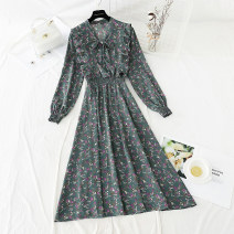 Dress Spring 2021 Green, black, apricot, coffee S,M,L,XL longuette singleton  Long sleeves commute V-neck Elastic waist Broken flowers Socket A-line skirt routine 18-24 years old Type A Retro Bowknot, ruffle, fungus, lace, bandage, printing More than 95% Chiffon polyester fiber