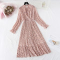 Dress Spring 2020 S,M,L,XL longuette singleton  Long sleeves commute Crew neck High waist Broken flowers Single breasted Pleated skirt pagoda sleeve Type A Korean version Bowknot, ruffle, fold, lace, stitching, bandage, printing More than 95% Chiffon
