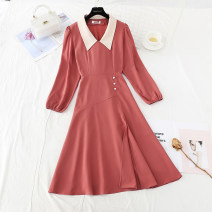 Dress Spring 2021 S,M,L,XL longuette singleton  Long sleeves commute Doll Collar High waist Solid color zipper A-line skirt routine 25-29 years old Type A Simplicity Pleats, folds, buttons, zippers polyester fiber