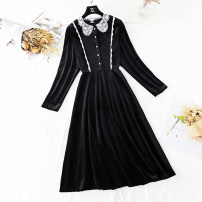 Dress Spring 2021 Black, brown S,M,L,XL longuette singleton  Long sleeves commute Doll Collar High waist Solid color Single breasted A-line skirt routine Type A Retro Hollow out, embroidery, Gouhua, hollow out, stitching, buttons, lace More than 95%