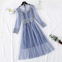 Dress Spring 2021 S,M,L,XL longuette Two piece set Long sleeves commute Crew neck High waist Solid color zipper Pleated skirt bishop sleeve camisole Type A Korean version More than 95% Lace