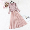 Dress Autumn of 2019 Apricot, blue, black, pink S,M,L,XL longuette Two piece set Long sleeves commute V-neck High waist Solid color Socket Big swing routine Type A Korean version Bow, ruffle, pleat, lace, stitching knitting