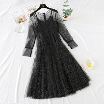 Dress Winter of 2018 S,M,L,XL longuette Two piece set Short sleeve commute Crew neck High waist Solid color zipper Big swing routine camisole Type A Korean version More than 95% Lace