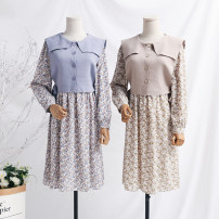 Dress Spring 2021 Blue, apricot, black S,M,L,XL longuette singleton  Long sleeves commute Doll Collar Loose waist Broken flowers A button A-line skirt routine Type A Retro Bowknot, lace, strap, button, print