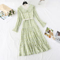 Dress Spring 2020 Green, yellow, pink S,M,L,XL longuette Fake two pieces Long sleeves commute Half high collar High waist Broken flowers zipper Pleated skirt pagoda sleeve Type A Korean version Pleat, lace, stitching, bandage, gauze, lace, printing Chiffon