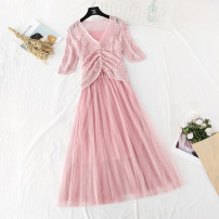 Dress Spring 2021 Long sleeve pink suit, long sleeve blue suit, long sleeve apricot suit, short sleeve pink suit, short sleeve blue suit, short sleeve apricot suit S,M,L,XL longuette Two piece set Short sleeve commute V-neck High waist Solid color Socket Big swing routine camisole Type A knitting