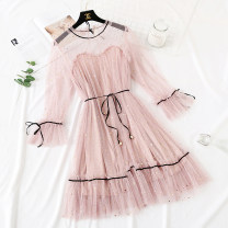 Dress Spring of 2019 Gray, blue, apricot, black, green, pink S,M,L,XL Mid length dress Fake two pieces Long sleeves commute Lotus leaf collar Loose waist Abstract pattern Socket routine Type H Korean version Bows, ruffles, hollows, pleats, folds, fungus, lace, stitching, sequins, buttons, mesh, lace