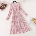Dress Spring 2021 Apricot, black, pink S,M,L,XL longuette Two piece set Long sleeves commute V-neck Elastic waist Solid color Socket Ruffle Skirt pagoda sleeve camisole Type A Korean version More than 95% Chiffon