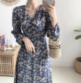 Dress Spring 2021 Blue, apricot, black S,M,L,XL longuette singleton  Long sleeves commute V-neck High waist Broken flowers Socket A-line skirt routine Type A Korean version Bows, ties, bandages, prints 51% (inclusive) - 70% (inclusive) Chiffon polyester fiber