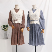 Dress Spring 2021 Apricot, blue, green, white, black, coffee, pink S,M,L,XL longuette Two piece set Long sleeves commute V-neck Elastic waist Solid color A button Pleated skirt routine Type A Retro Ruffles, ruffles, folds, fungus, lace, lace