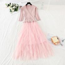 Dress Spring 2021 Black, pink S,M,L,XL longuette singleton  Long sleeves commute V-neck High waist Solid color Socket Big swing routine Type A Korean version Stitching, asymmetry, mesh