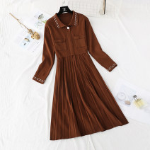 Dress Spring 2021 Red, gray, apricot, black, coffee S,M,L,XL longuette singleton  Long sleeves commute Polo collar High waist Solid color Socket Pleated skirt routine Type H Korean version Folds, pockets knitting