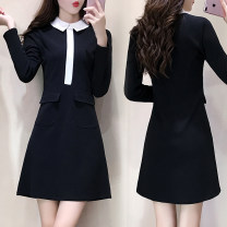 Dress Spring 2020 black M,L,XL,2XL,3XL,4XL Middle-skirt singleton  Long sleeves commute Doll Collar middle-waisted Solid color zipper routine 25-29 years old Type X Korean version 71% (inclusive) - 80% (inclusive)