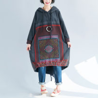 Dress Autumn of 2018 Red, gray, green Loose and full Mid length dress singleton  Long sleeves commute Hood Loose waist Decor Socket Irregular skirt raglan sleeve Others 35-39 years old Type A Ol style Pocket, lace up, asymmetric, worn, printed 81% (inclusive) - 90% (inclusive) cotton