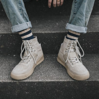 High shoes Other / other 39,40,41,42,43 Khaki, beige cloth Round head Frenulum Denim Two layer pigskin cloth Retro rubber daily winter Flat heel Adhesive shoes Youth (18-40 years old) High help tooling shoes Low heel (1-3cm) Winter 2020