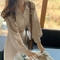 Dress Spring 2021 Apricot, black S,M,L Mid length dress singleton  Long sleeves commute Polo collar High waist Solid color Single breasted other shirt sleeve Others 25-29 years old Type H Korean version Lace up, tie, button L24215 81% (inclusive) - 90% (inclusive) other other