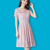 Dress Spring of 2019 White, black, apricot, pink, black long sleeves, pink long sleeves, white long sleeves S,M,L,XL,2XL,3XL,4XL Mid length dress singleton  Short sleeve commute Crew neck middle-waisted Solid color Socket Pleated skirt routine Hanging neck style Type A Reading clothes Korean version