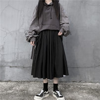 skirt Autumn of 2019 Average size Double sided black and white Mid length dress Versatile Natural waist Pleated skirt Solid color 18-24 years old 30% and below Sakura Kawabata cotton
