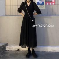 Dress Summer 2021 black Average size Mid length dress singleton  elbow sleeve commute 18-24 years old Type A Sakura Kawabata Korean version