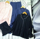 Pajamas / housewear set female Other / other S,M,L,XL Pink [2-piece set], Navy [2-piece set], black [2-piece set] cotton Long sleeves Simplicity Leisure home spring routine Small lapel Solid color trousers Front buckle youth 2 pieces rubber string More than 95%