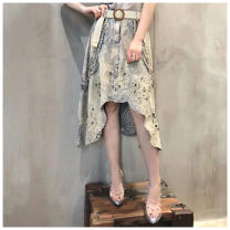 skirt Summer of 2019 S,M,L,XL Nostalgic color Mid length dress Natural waist Irregular 25-29 years old 31% (inclusive) - 50% (inclusive) Denim cotton Three dimensional decoration, nail bead, make old