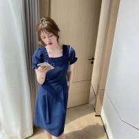 Dress Summer 2021 Mid length dress singleton  Short sleeve commute square neck High waist lattice other A-line skirt puff sleeve Others 18-24 years old Type X Independents Korean version More than 95% other polyester fiber