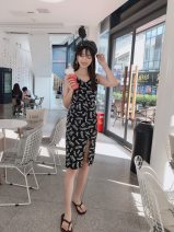 Dress Summer of 2019 White, black S,M,L Mid length dress singleton  Sleeveless commute V-neck letter zipper other camisole 18-24 years old 1308----0602 51% (inclusive) - 70% (inclusive) polyester fiber
