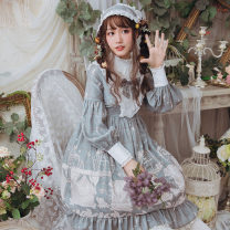 Dress Summer of 2019 Pea green S,M,L,XL Mid length dress singleton  Long sleeves Sweet stand collar High waist other Socket Princess Dress bishop sleeve Others 18-24 years old Type A Eieyomi A-21-02 More than 95% other polyester fiber Lolita