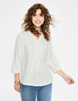 shirt Milky white, Navy Spring 2021 Viscose 96% and above three quarter sleeve Regular Crew neck routine Solid color Straight cylinder